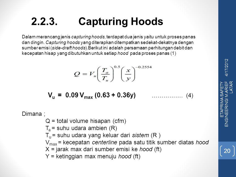 2.2.3. Capturing Hoods Vu = 0.09 Vmax (0.63 + 0.36y) ……………. (4)