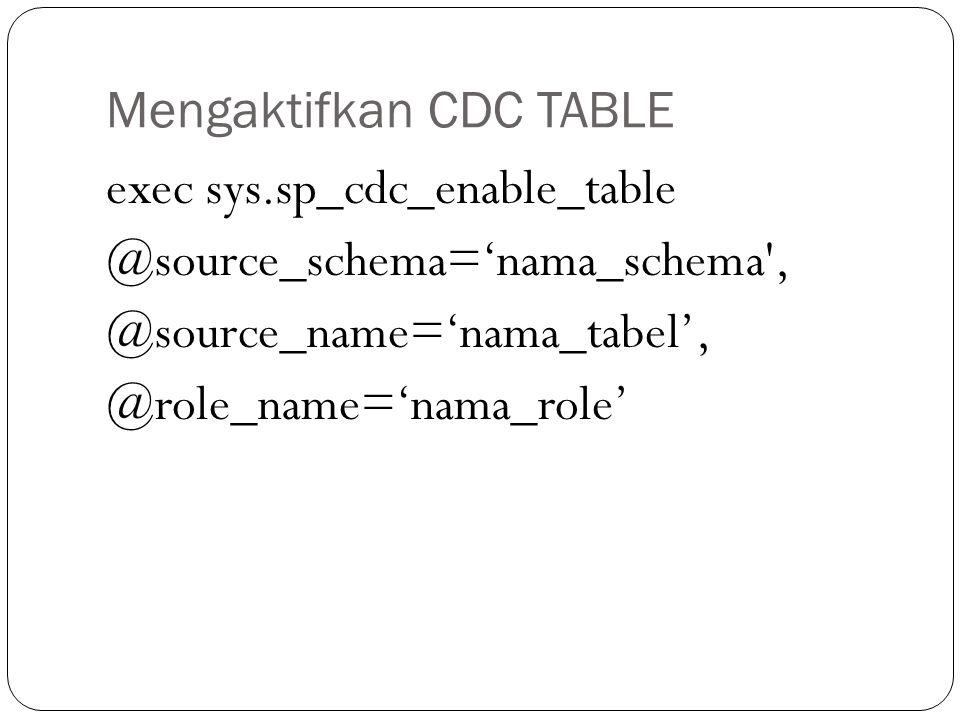 Mengaktifkan CDC TABLE
