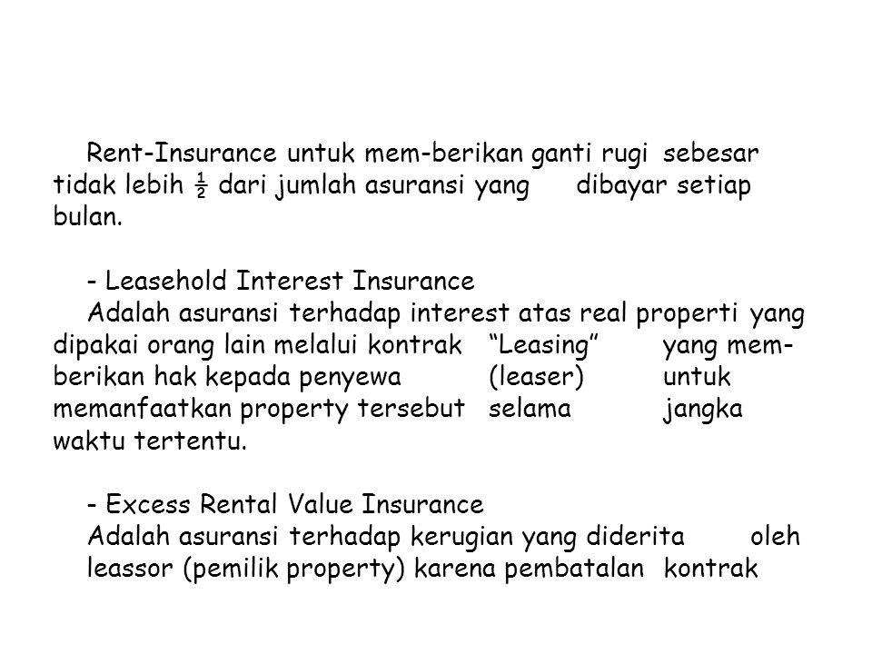 Rent-Insurance untuk mem-berikan ganti rugi