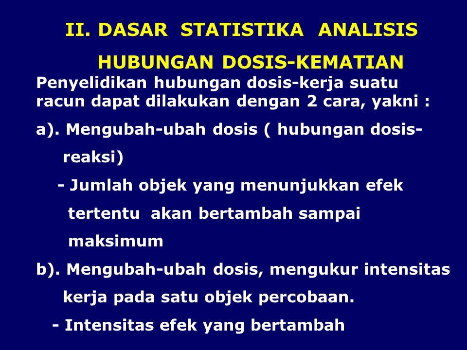 II. DASAR STATISTIKA ANALISIS HUBUNGAN DOSIS-KEMATIAN