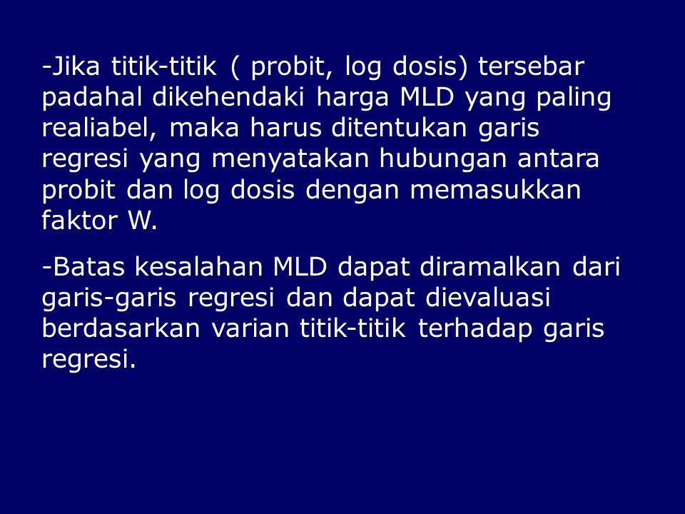 Jika titik-titik ( probit, log dosis) tersebar padahal dikehendaki harga MLD yang paling realiabel, maka harus ditentukan garis regresi yang menyatakan hubungan antara probit dan log dosis dengan memasukkan faktor W.