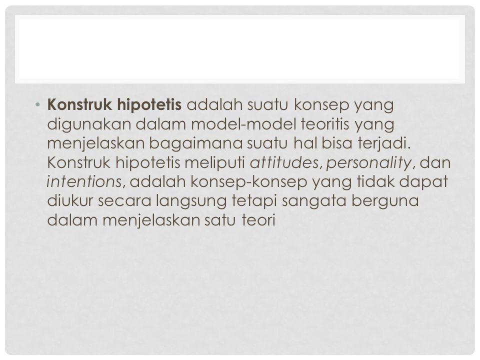 Konstruk hipotetis adalah suatu konsep yang digunakan dalam model-model teoritis yang menjelaskan bagaimana suatu hal bisa terjadi.