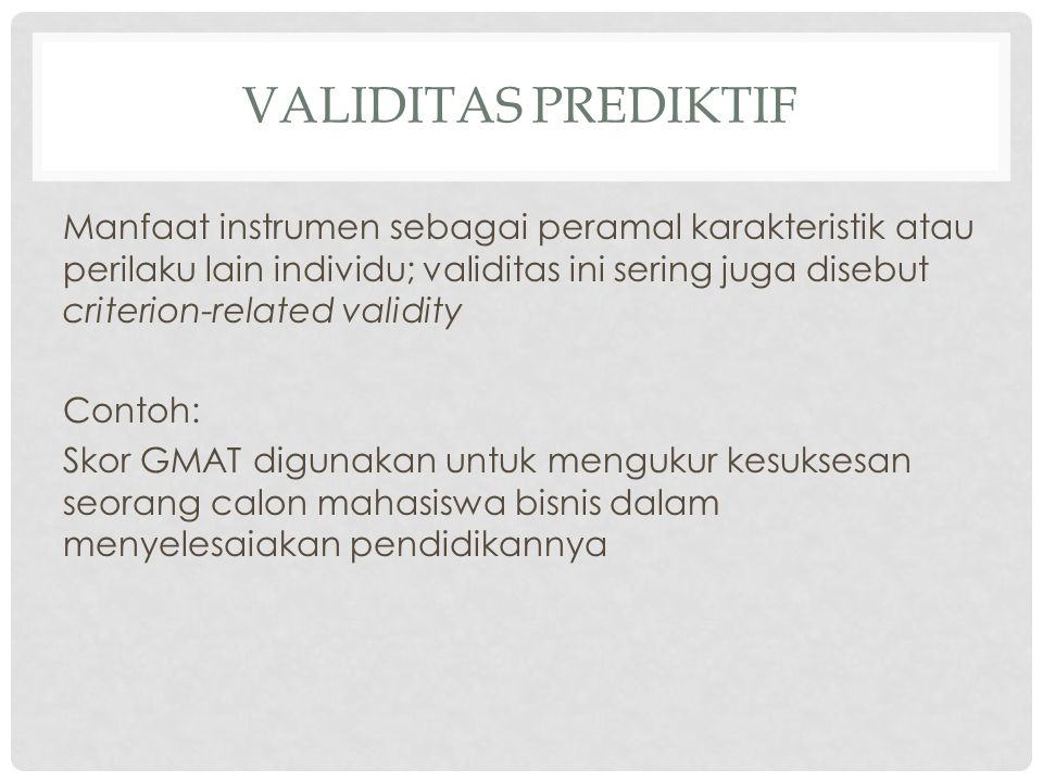 Validitas Prediktif