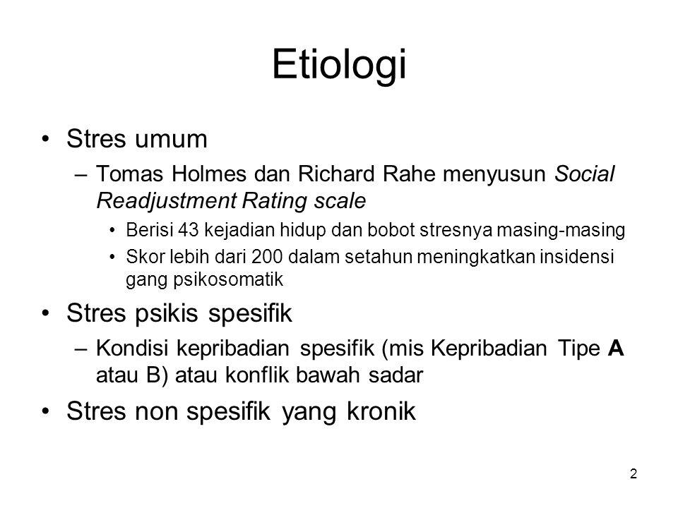 Etiologi Stres umum Stres psikis spesifik