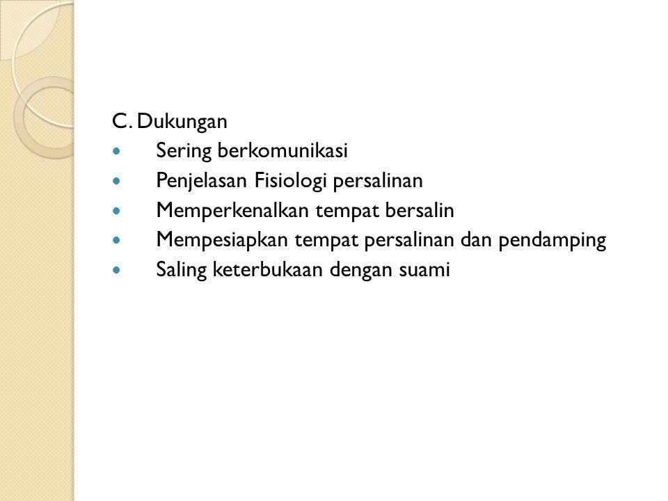 C. Dukungan Sering berkomunikasi. Penjelasan Fisiologi persalinan. Memperkenalkan tempat bersalin.