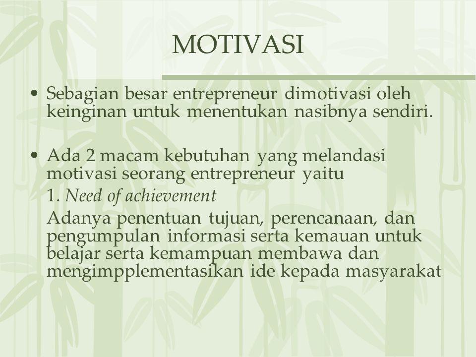 MOTIVASI Sebagian besar entrepreneur dimotivasi oleh keinginan untuk menentukan nasibnya sendiri.
