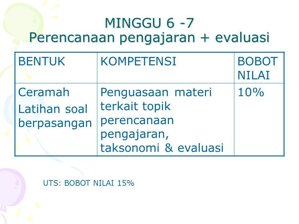 MINGGU 6 -7 Perencanaan pengajaran + evaluasi