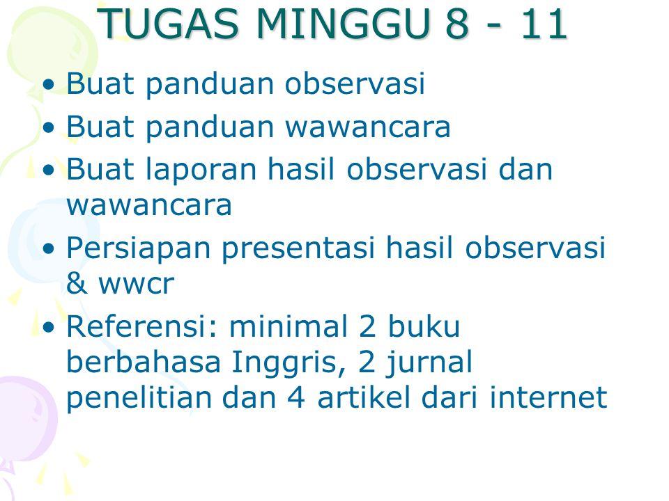 TUGAS MINGGU 8 - 11 Buat panduan observasi Buat panduan wawancara