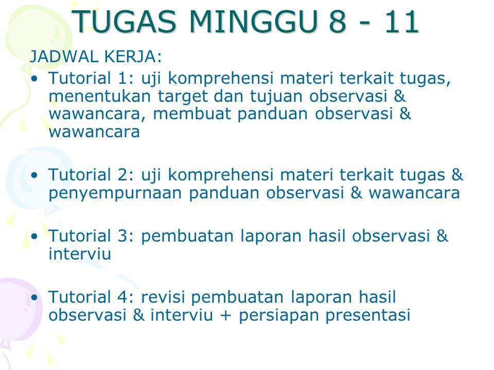 TUGAS MINGGU 8 - 11 JADWAL KERJA: