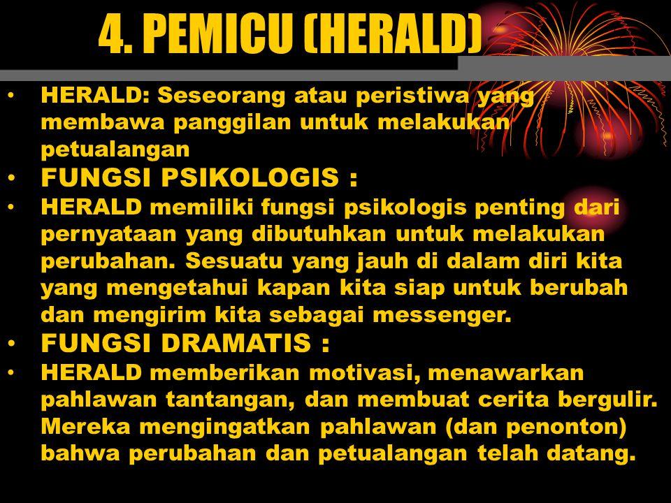 4. PEMICU (HERALD) FUNGSI PSIKOLOGIS : FUNGSI DRAMATIS :