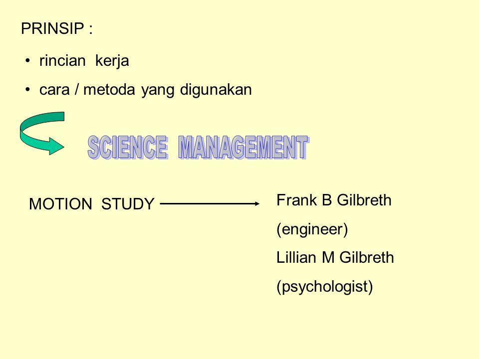 PRINSIP : rincian kerja. cara / metoda yang digunakan. SCIENCE MANAGEMENT. Frank B Gilbreth. (engineer)