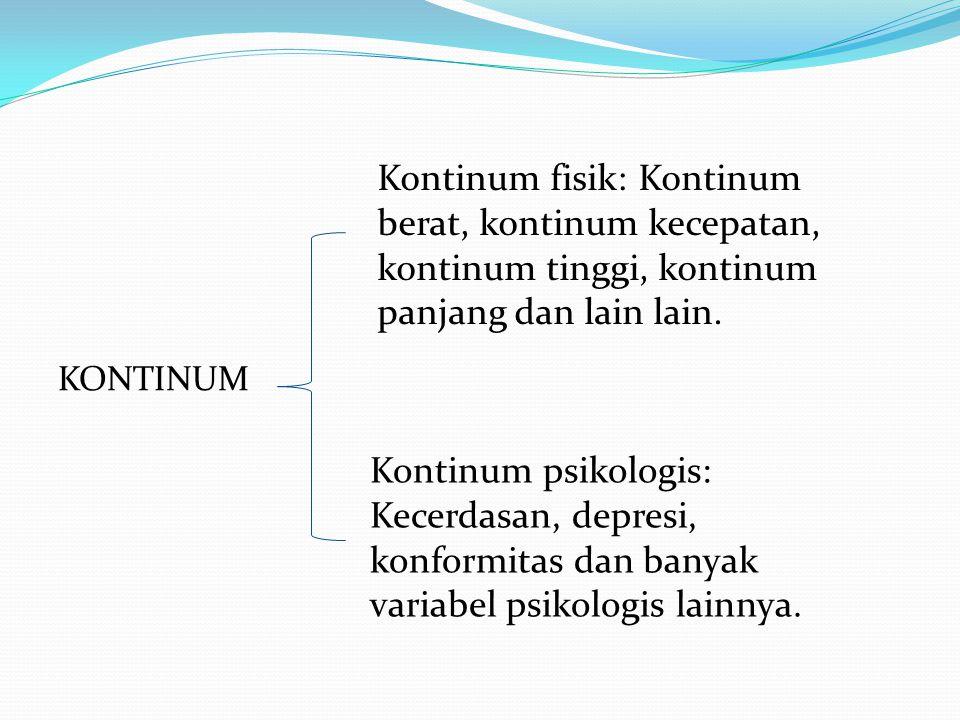 Kontinum fisik: Kontinum berat, kontinum kecepatan, kontinum tinggi, kontinum panjang dan lain lain.