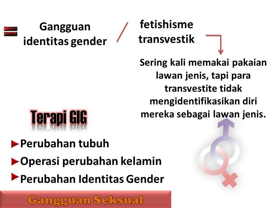 fetishisme transvestik Gangguan identitas gender