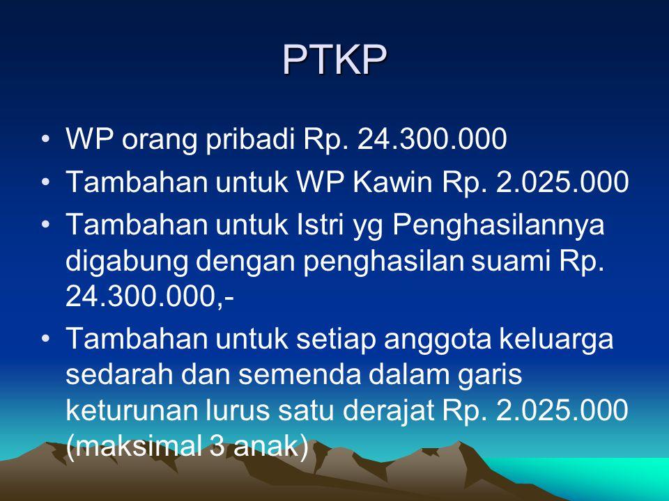 PTKP WP orang pribadi Rp. 24.300.000