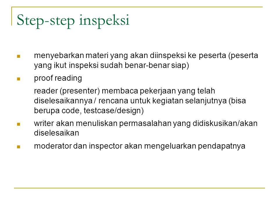 Step-step inspeksi menyebarkan materi yang akan diinspeksi ke peserta (peserta yang ikut inspeksi sudah benar-benar siap)