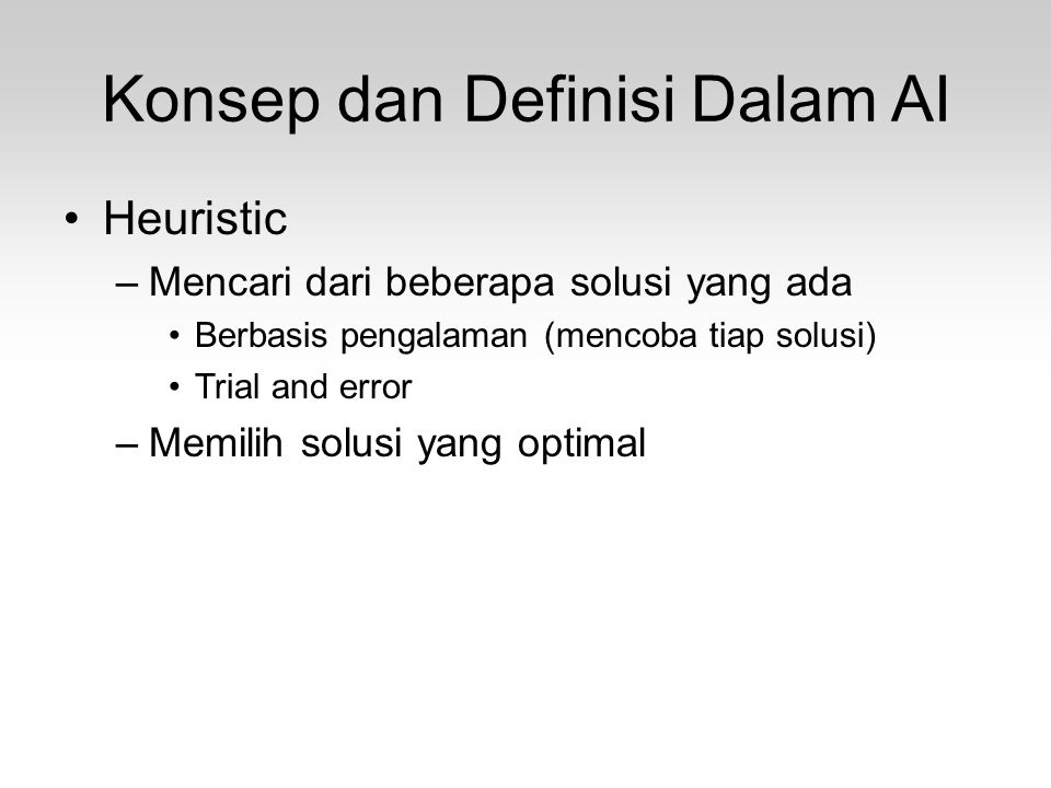 Konsep dan Definisi Dalam AI