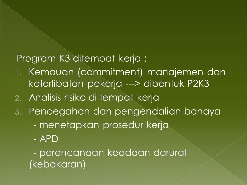 Program K3 ditempat kerja :