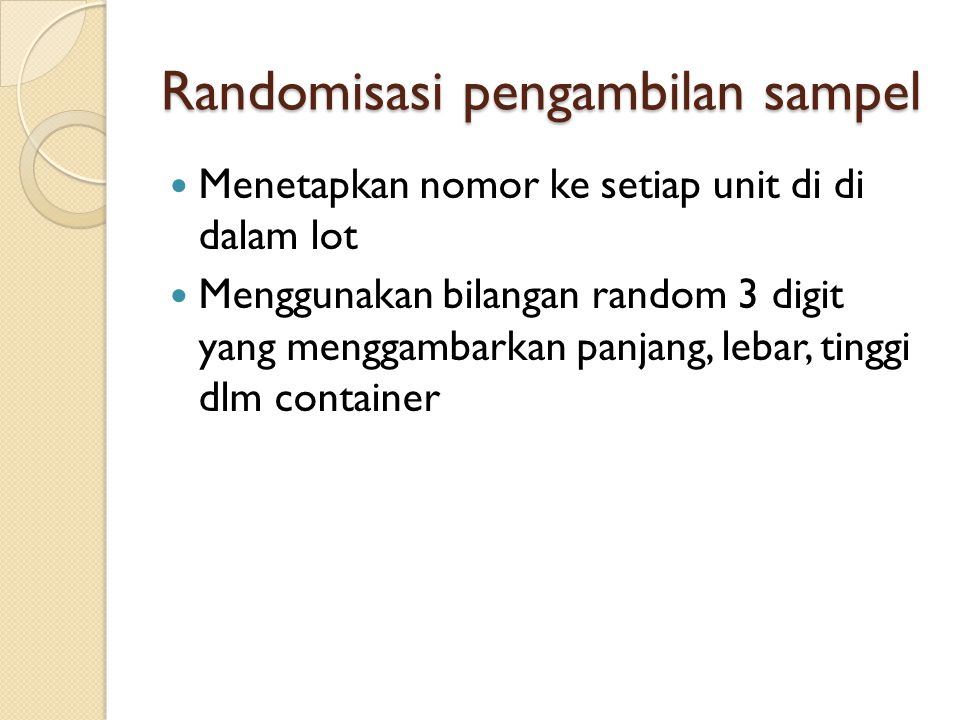 Randomisasi pengambilan sampel