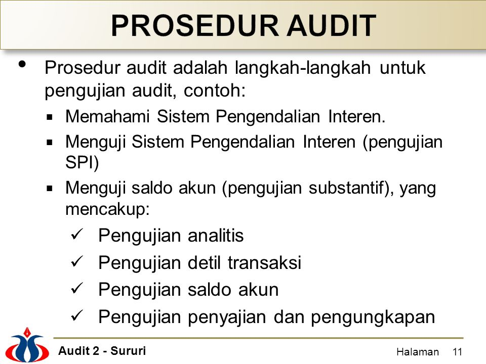 PROSEDUR AUDIT Prosedur audit adalah langkah-langkah untuk pengujian audit, contoh: Memahami Sistem Pengendalian Interen.