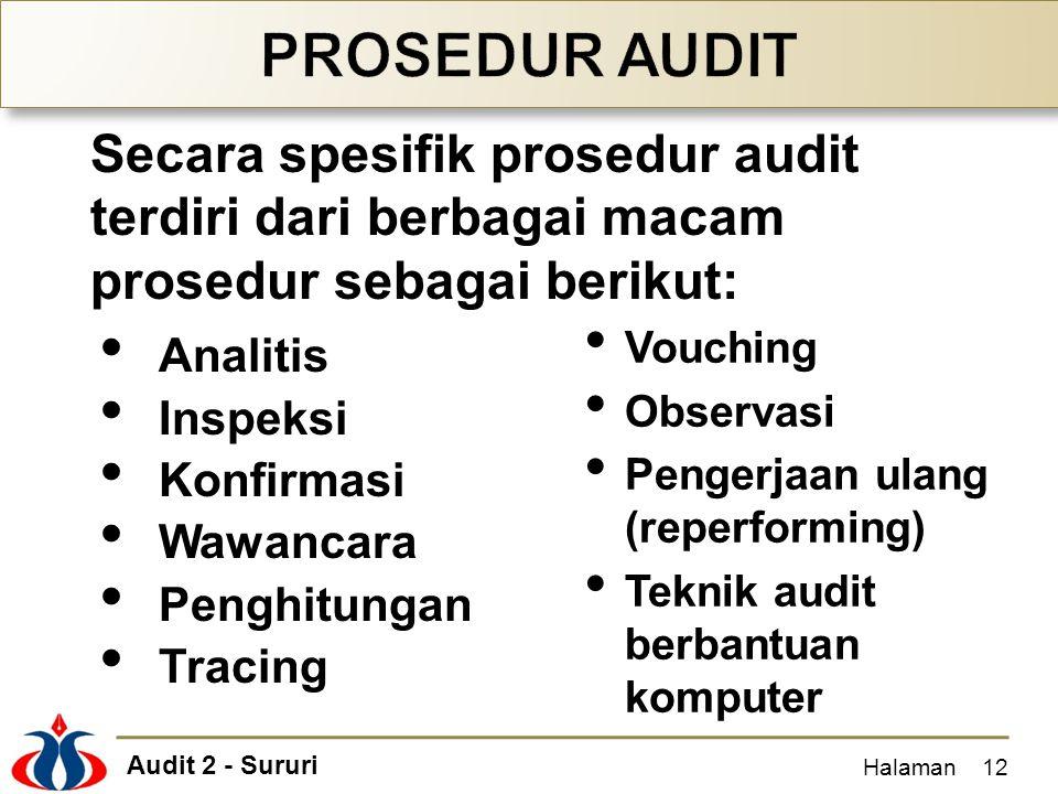 PROSEDUR AUDIT Secara spesifik prosedur audit terdiri dari berbagai macam prosedur sebagai berikut: