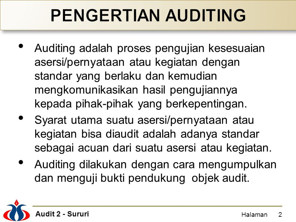 PENGERTIAN AUDITING