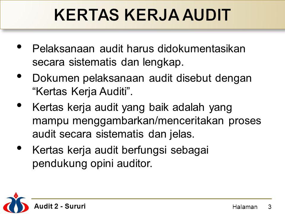 KERTAS KERJA AUDIT Pelaksanaan audit harus didokumentasikan secara sistematis dan lengkap.