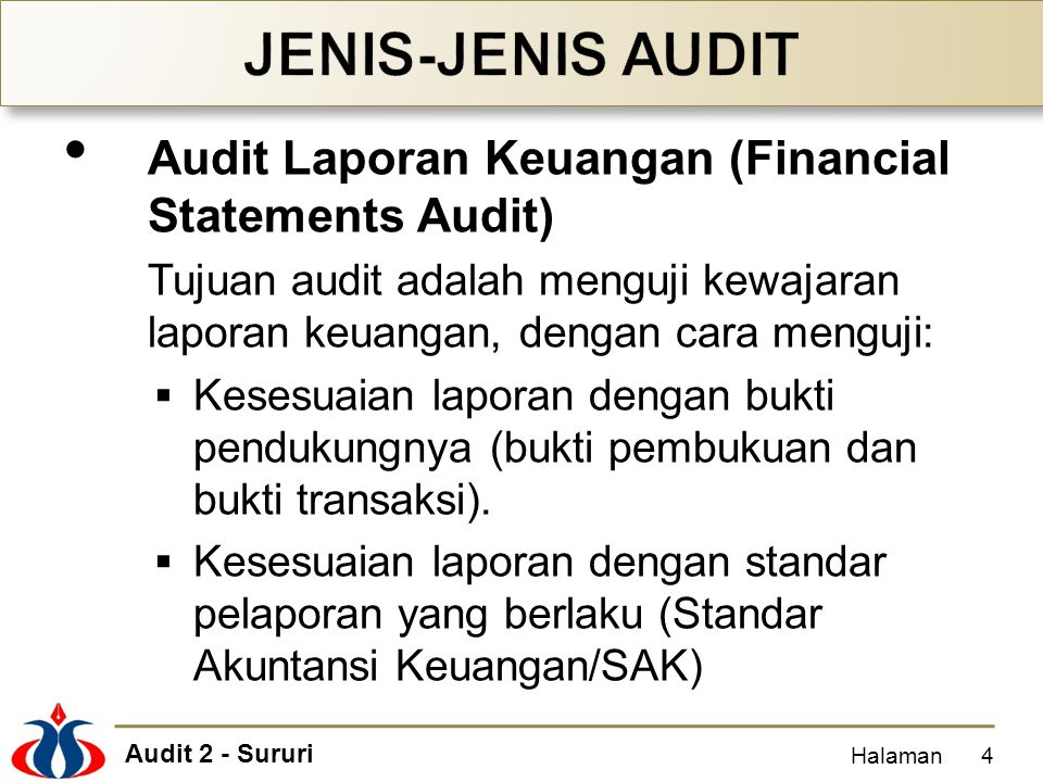 JENIS-JENIS AUDIT Audit Laporan Keuangan (Financial Statements Audit)