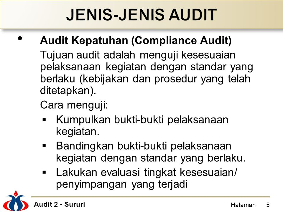 JENIS-JENIS AUDIT Audit Kepatuhan (Compliance Audit)