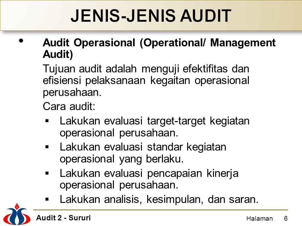 JENIS-JENIS AUDIT Audit Operasional (Operational/ Management Audit)