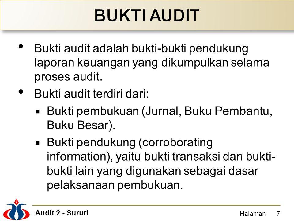 BUKTI AUDIT Bukti audit adalah bukti-bukti pendukung laporan keuangan yang dikumpulkan selama proses audit.