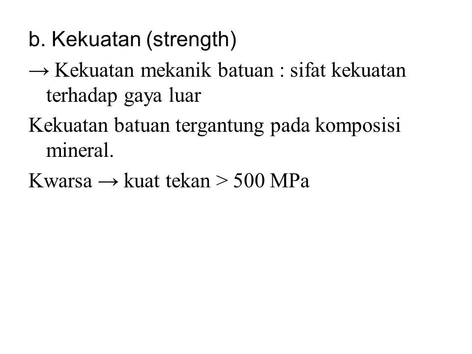 b. Kekuatan (strength) → Kekuatan mekanik batuan : sifat kekuatan terhadap gaya luar. Kekuatan batuan tergantung pada komposisi mineral.