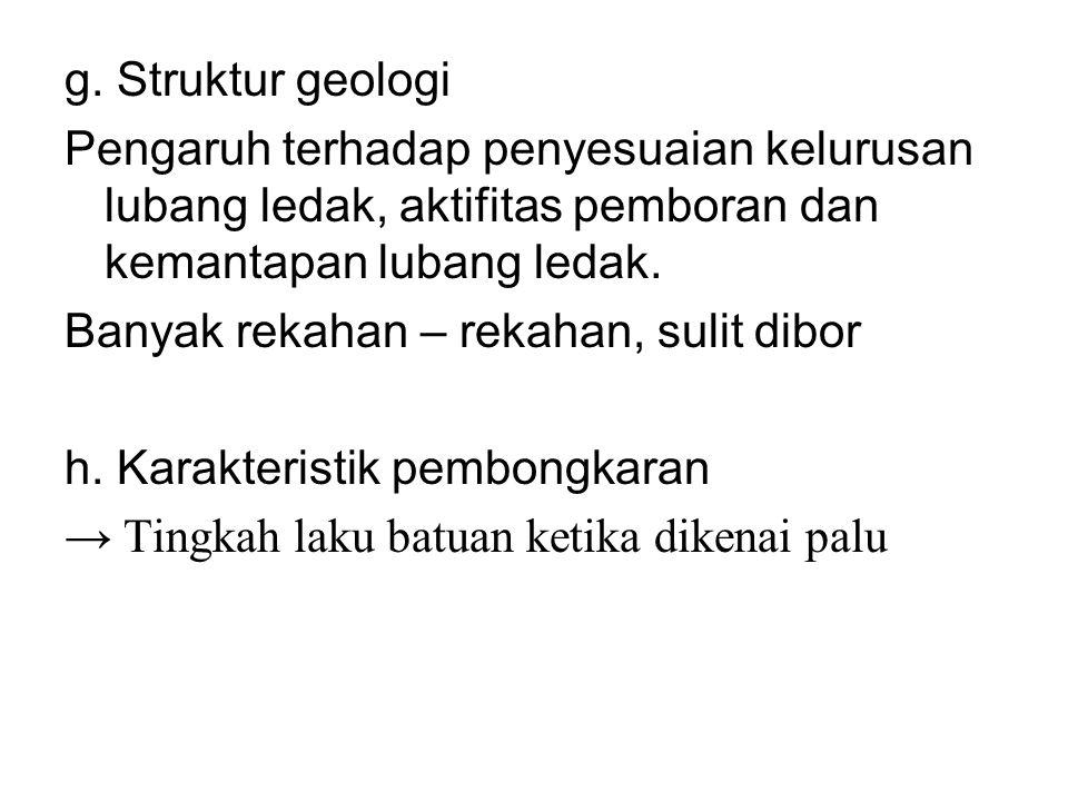 g. Struktur geologi Pengaruh terhadap penyesuaian kelurusan lubang ledak, aktifitas pemboran dan kemantapan lubang ledak.