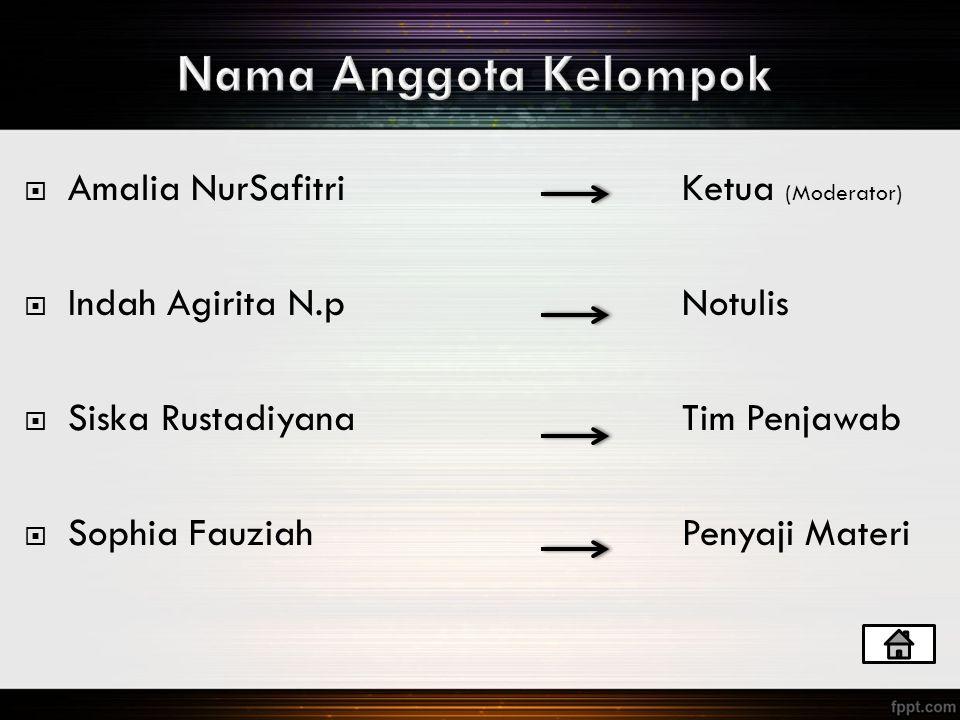 Nama Anggota Kelompok Amalia NurSafitri Ketua (Moderator)