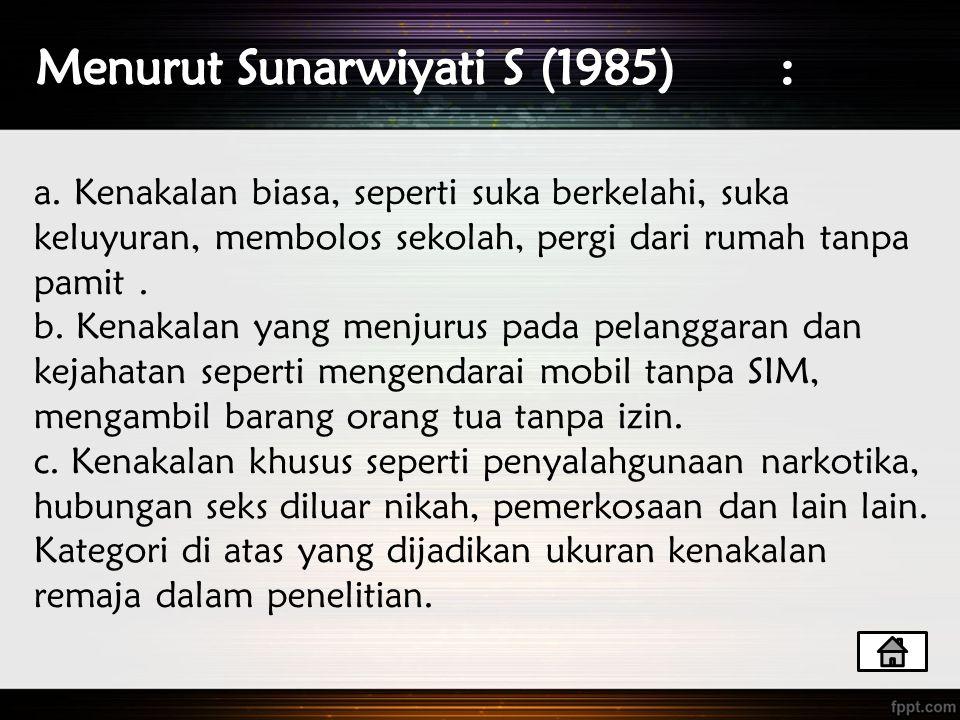 Menurut Sunarwiyati S (1985) :