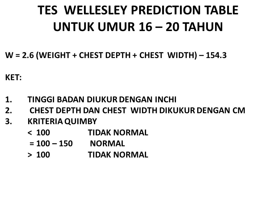 TES WELLESLEY PREDICTION TABLE