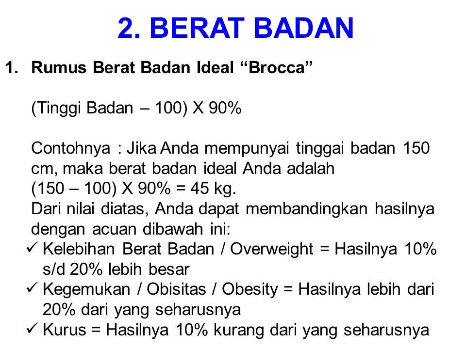 2. BERAT BADAN Rumus Berat Badan Ideal Brocca