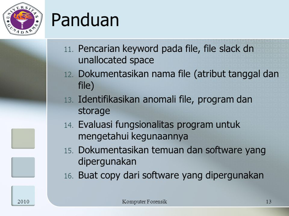Panduan Pencarian keyword pada file, file slack dn unallocated space