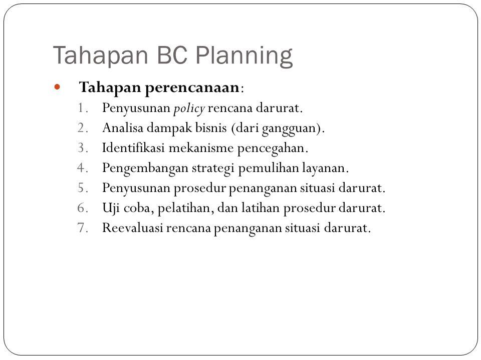 Tahapan BC Planning Tahapan perencanaan: