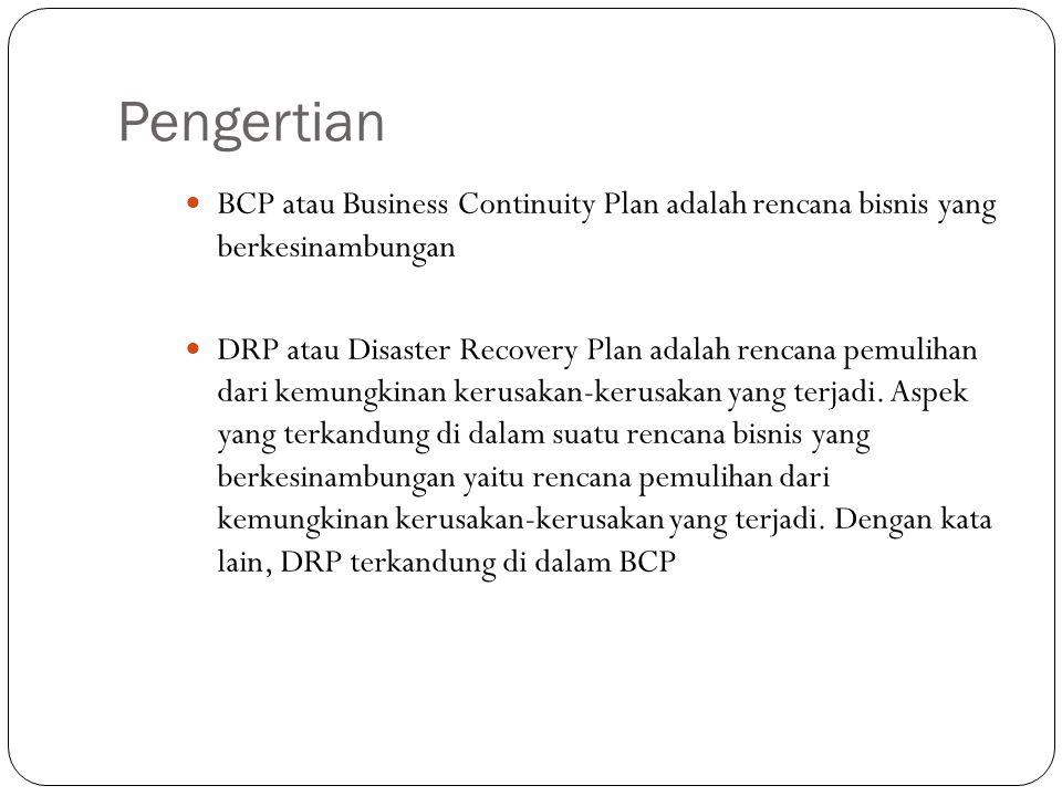 Pengertian BCP atau Business Continuity Plan adalah rencana bisnis yang berkesinambungan.