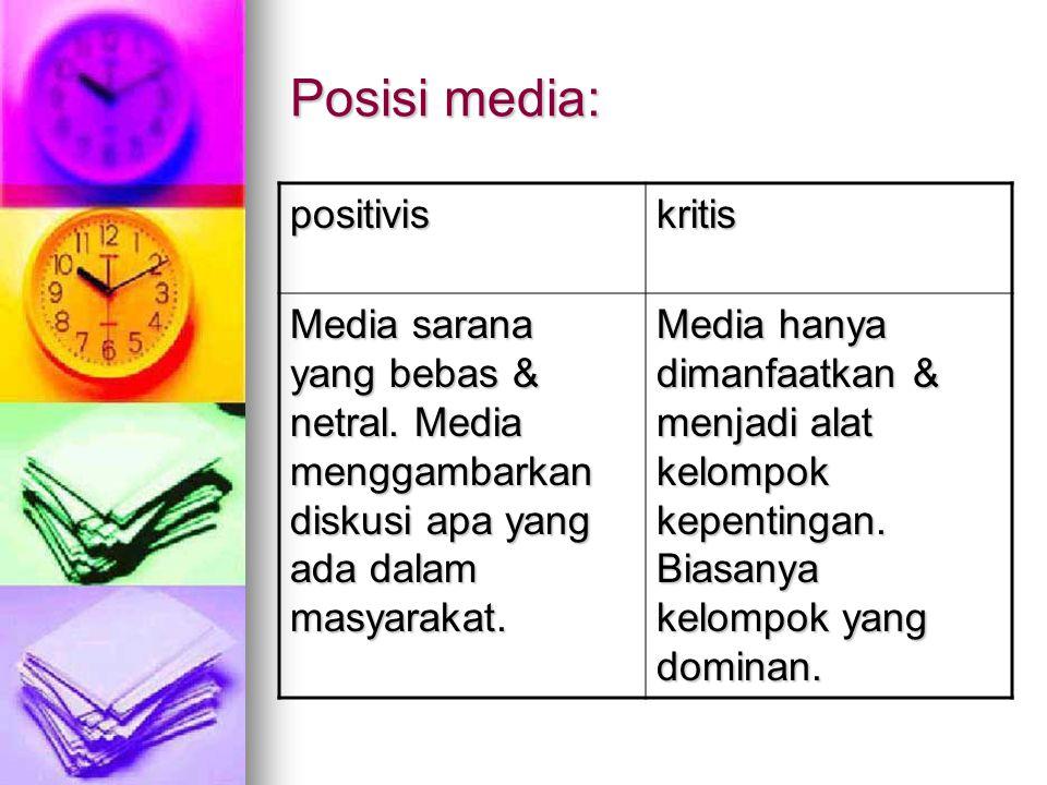 Posisi media: positivis kritis