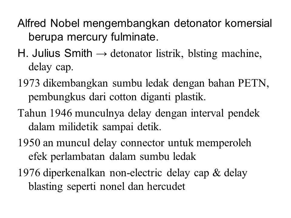Alfred Nobel mengembangkan detonator komersial berupa mercury fulminate.