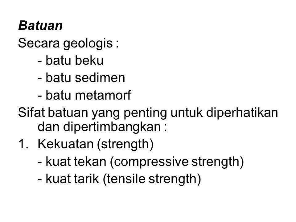Batuan Secara geologis : - batu beku. - batu sedimen. - batu metamorf. Sifat batuan yang penting untuk diperhatikan dan dipertimbangkan :