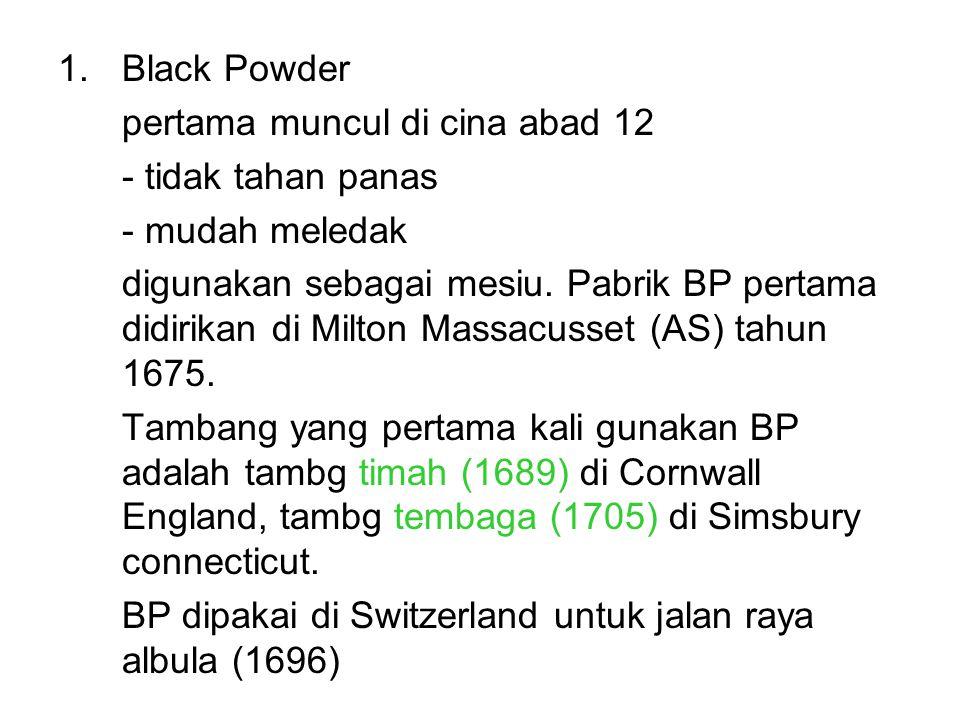 Black Powder pertama muncul di cina abad 12. - tidak tahan panas. - mudah meledak.