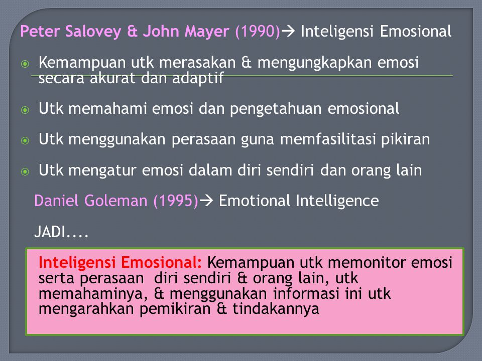 Peter Salovey & John Mayer (1990) Inteligensi Emosional