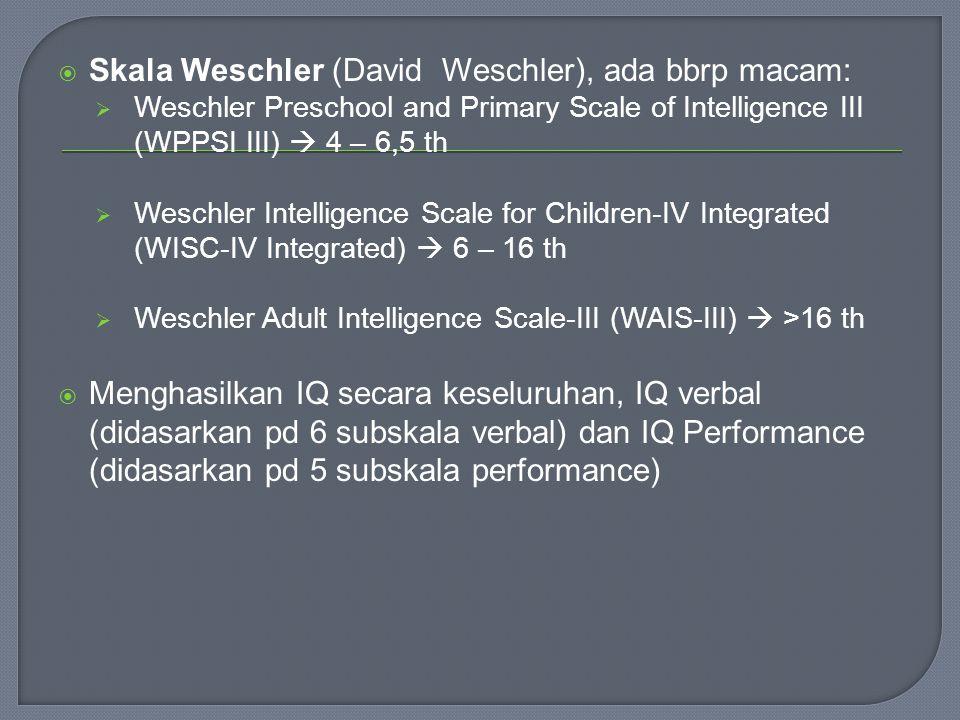 Skala Weschler (David Weschler), ada bbrp macam: