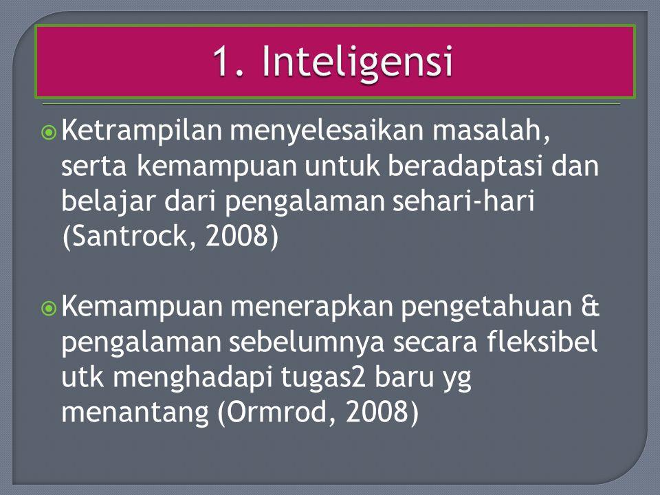 1. Inteligensi Ketrampilan menyelesaikan masalah, serta kemampuan untuk beradaptasi dan belajar dari pengalaman sehari-hari (Santrock, 2008)