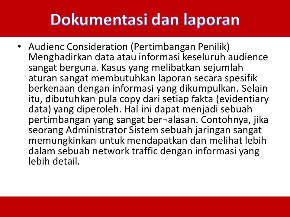 Dokumentasi dan laporan