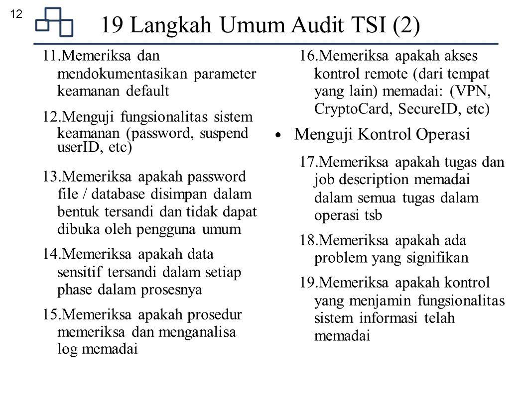 19 Langkah Umum Audit TSI (2)