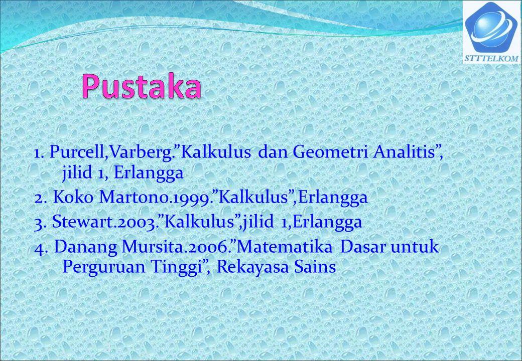 Pustaka 1. Purcell,Varberg. Kalkulus dan Geometri Analitis , jilid 1, Erlangga. 2. Koko Martono.1999. Kalkulus ,Erlangga.