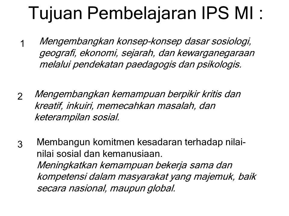 Tujuan Pembelajaran IPS MI :